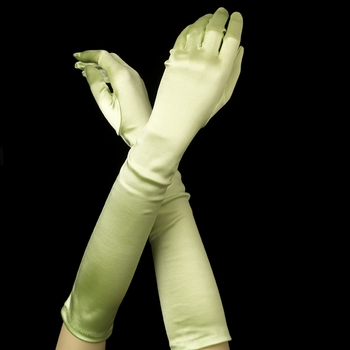 Satin Bridal Bridesmaid Gloves - Lime