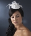 * Embroidered Feather Flower Bridal Hat Comb with Russian Tulle Accent in White 3027