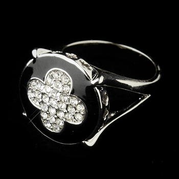 Silver Black & CZ Crystal Clover Cocktail Bridal Ring 10 (7571)