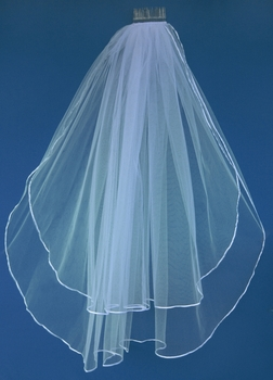 """Double Layer Fingertip Length Bridal Veil with a Satin Ribbon Edge  30"""" and 36"""" VS F"""