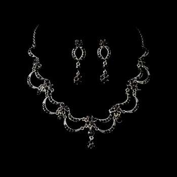 * Victorian Antique Silver Black Jewelry Set NE 411