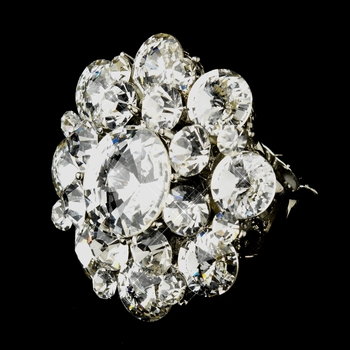 Silver Clear Crystal Flower Bridal Ring 9***Discontinued***