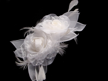 Light Ivory Bridal Feather Fascinator (1 Piece in Stock Lt Ivory - Special Order Any Color)