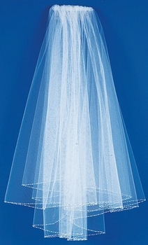 Veil with Pearl and Bugle Bead Edge Elbow Length VE-174