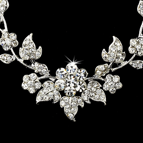 Swarovski Crystal Floral Bridal Jewelry Set NE 1320 Silver Clear