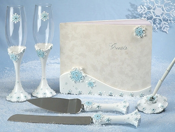 Snowflake Charm Wedding Guest Book Pen Toasting Flutes Cake Server Set