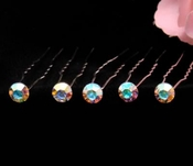 Silver with AB Stones Hair Accents Hair Pin 7 (Set of 12)