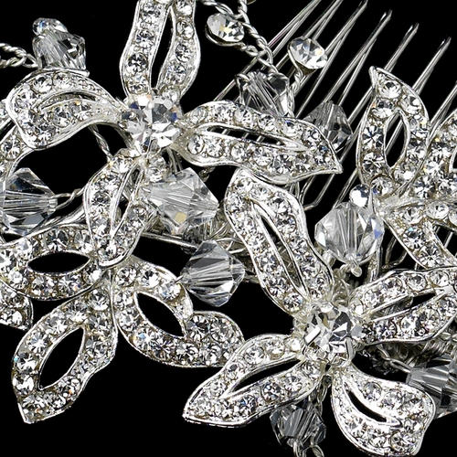 Silver Clear Rhinestone & Crystal Bead Floral Hair Comb 9651