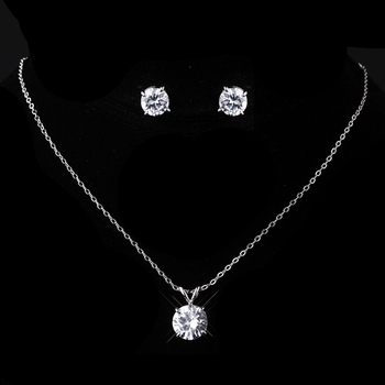 Silver Clear CZ Necklace & Earring Set 8598