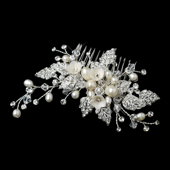Diamond White Flower & Freshwater Pearl Hair Comb with Silver Pave Rhinestone Leaves 9657