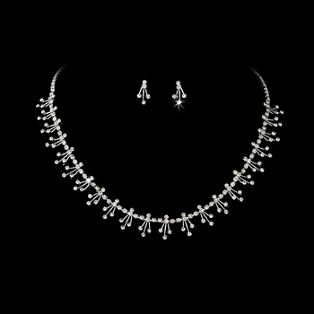 * Dazzling Silver Clear Rhinestone Necklace & Earring Set NE 357