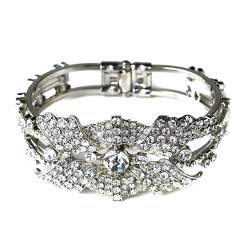 Rhinestone Flower Delight Pull Open Bangle Bracelet in Antique Silver 9675