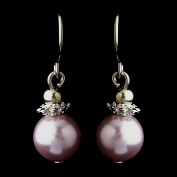 Silver Light Amethyst Glass Pearl & Bali Bead Drop Earrings 8662