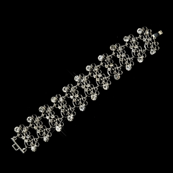 Antique Silver Clear Crystal Swirl Bridal Vine Bracelet 8755