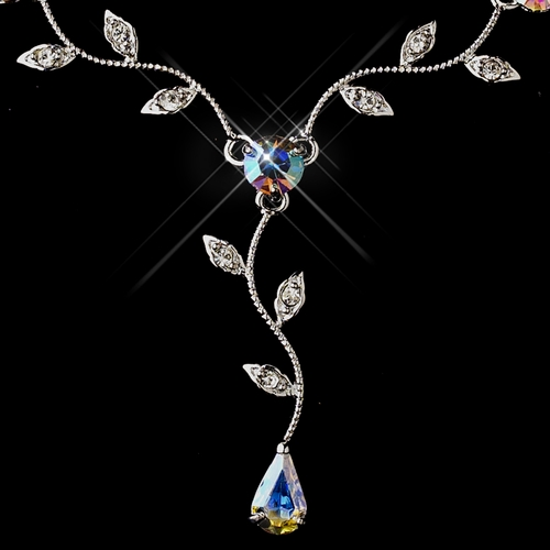 Silver AB & Clear Teardrop Necklace & Earrings Jewelry Set 0116