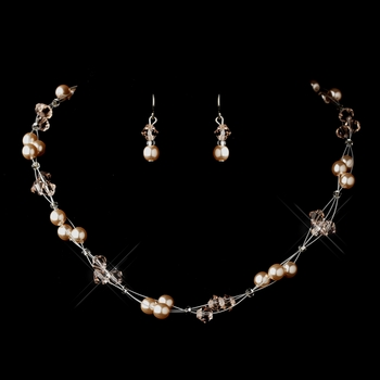 Silver Pink Czech Glass Pearl & Swarovski Crystal Bead Multiweave Illusion Necklace 8672 & Earrings 2031 Jewelry Set