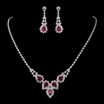 Silver Fuchsia Round Rhinestone Necklace & Earrings Jewelry Set 9381