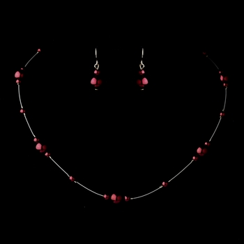 Silver Burgundy Pearl Illusion Necklace & Earrings Jewelry Set 8601