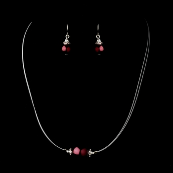 Silver Burgundy Czech Glass Pearl & Bali Bead Illusion Necklace & Earrings Jewelry Set 8662