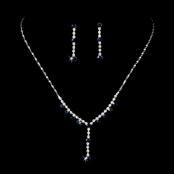 Necklace Earring Set NE 7157 Silver Navy