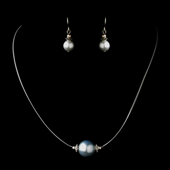 Silver Light Blue Czech Glass Pearl & Bali Bead Illusion Necklace & Earrings Jewelry Set 8662