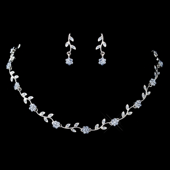 Silver Light Blue Rhinestone Floral Pattern Necklace & Earrings Jewelry Set 7545