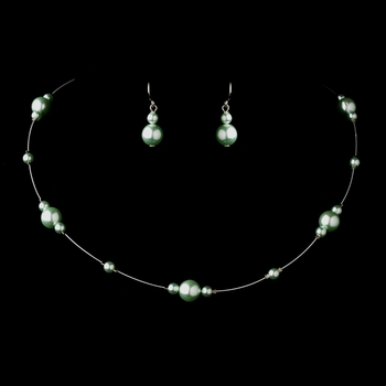 Silver Peridot Pearl Illusion Necklace & Earrings Jewelry Set 8601