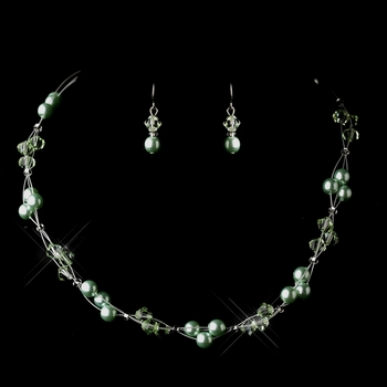 Silver Peridot Czech Glass Pearl & Swarovski Crystal Bead Multiweave Illusion Necklace 8672 & Earrings 2031 Jewelry Set
