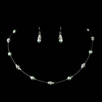 Silver Peridot Czech Glass Pearl & Clear Rhinestone Rondelle Necklace & Earrings Jewelry Set 8805