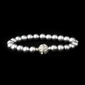 Grey Glass Pearl Pave Ball Bridal Bracelet 720