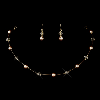 Gold Light Brown Illusion Czech Glass Pearl & Swarovski Crystal Bead Necklace & Earrings Jewelry Set 2031