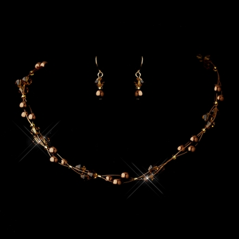 Gold Brown Czech Glass Pearl & Swarovski Crystal Bead Multiweave Illusion Necklace 8672 & Earrings 2031 Jewelry Set