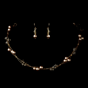 Gold Light Brown Czech Glass Pearl & Swarovski Crystal Bead Multiweave Illusion Necklace 8672 & Earrings 2031 Jewelry Set