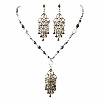 Hematite Black Rhinestone Chandelier Pendant Necklace & Earrings Jewelry Set 8716