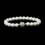White Glass Pearl Pave Ball Bridal Bracelet 720 **Discontinued**