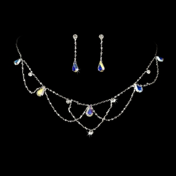 * Silver AB Necklace & Earring Bridal Jewelry Set NE 8000