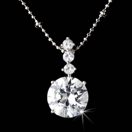Necklace Earring Set 8418 Silver Clear
