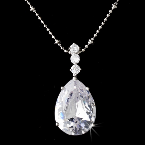 Necklace Earring Set 8423 Silver Clear