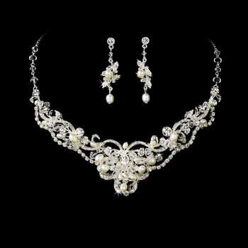 Silver Freshwater Pearl & Crystal Jewelry Set NE 7825