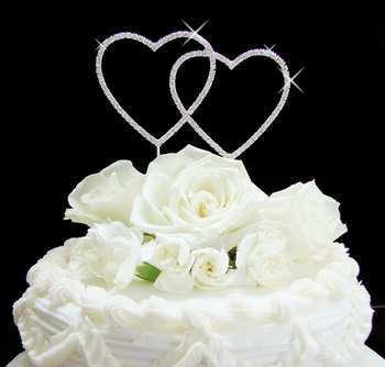 Renaissance ~ Double Heart Wedding or Anniversary Cake Topper