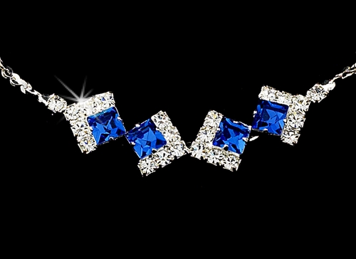 * Necklace Earring Set 327 Silver Blue