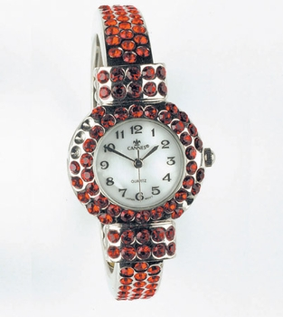 Silver-Red Rhinestone Watch WATCH4-RD