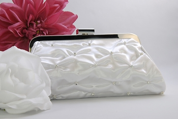 White Satin Crystal Gathered Bridal Evening Bag EB 303