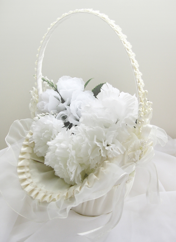 Wholesale Ivory Flower Girl Basket with Pearl Accent