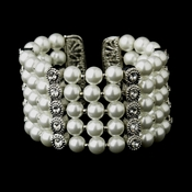 Antique Silver 5 Row White Pearl & Rhinestone Cuff Bridal Bracelet 722