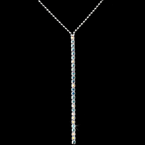 Silver & AB Crystal Necklace & Earring Set NE 336