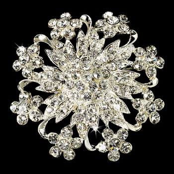 Magnificent Silver Rhinestone Floral Crystal Brooch 3166