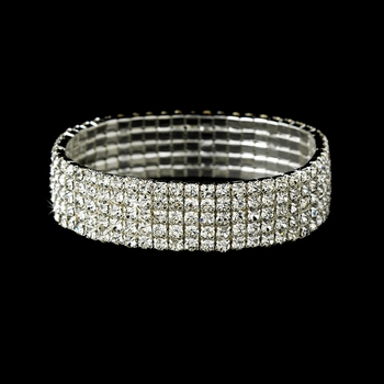 Fabulous Silver 5 Row Clear Rhinestone Stretch Bracelet 8015