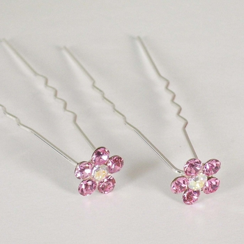 Silver and Light Amethyst Floral Hair Accents Hair Pin 8 (Set of 12)