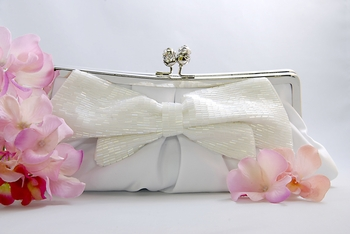White Matte Satin Bridal Evening Bag EB 301